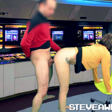 Captain Steve Awesome taking Lt. Commander Jenna Suvari's twat where no man has gone before.